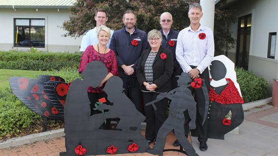 ANZAC silhouette art display at Waikato District Council