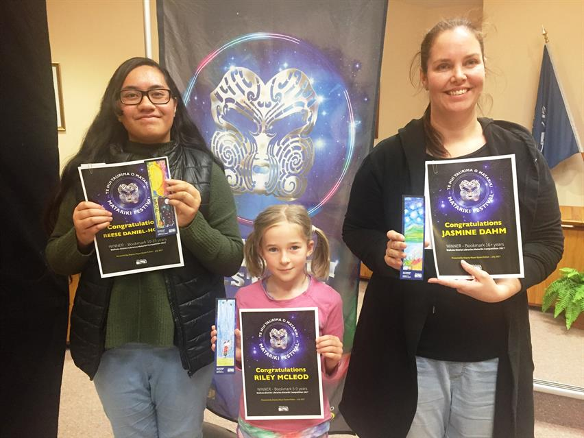 Bookmark winners: Reese Daniel-Hoani, Riley McLeod, Jasmine Dahm
