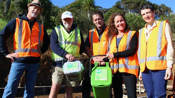 Xtreme Zero Waste Relationship Manager Rick Thorpe, left, Raglan Community Board Chairman Bob McLeod, Xtreme Zero Waste Operations Manager Cain Brodie, Raglan Ward Councillor Lisa Thomson and Waikato District Council Waste Minimisation Officer Pat Cronin.