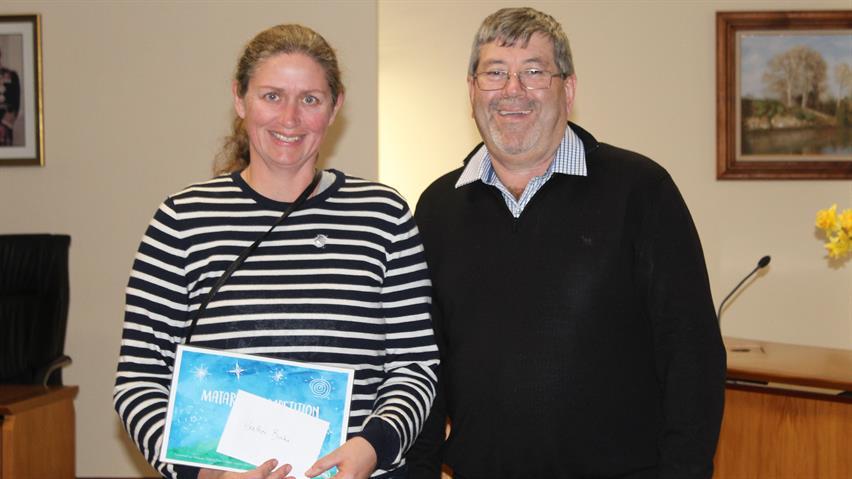 Heather Burke with Mayor Sanson