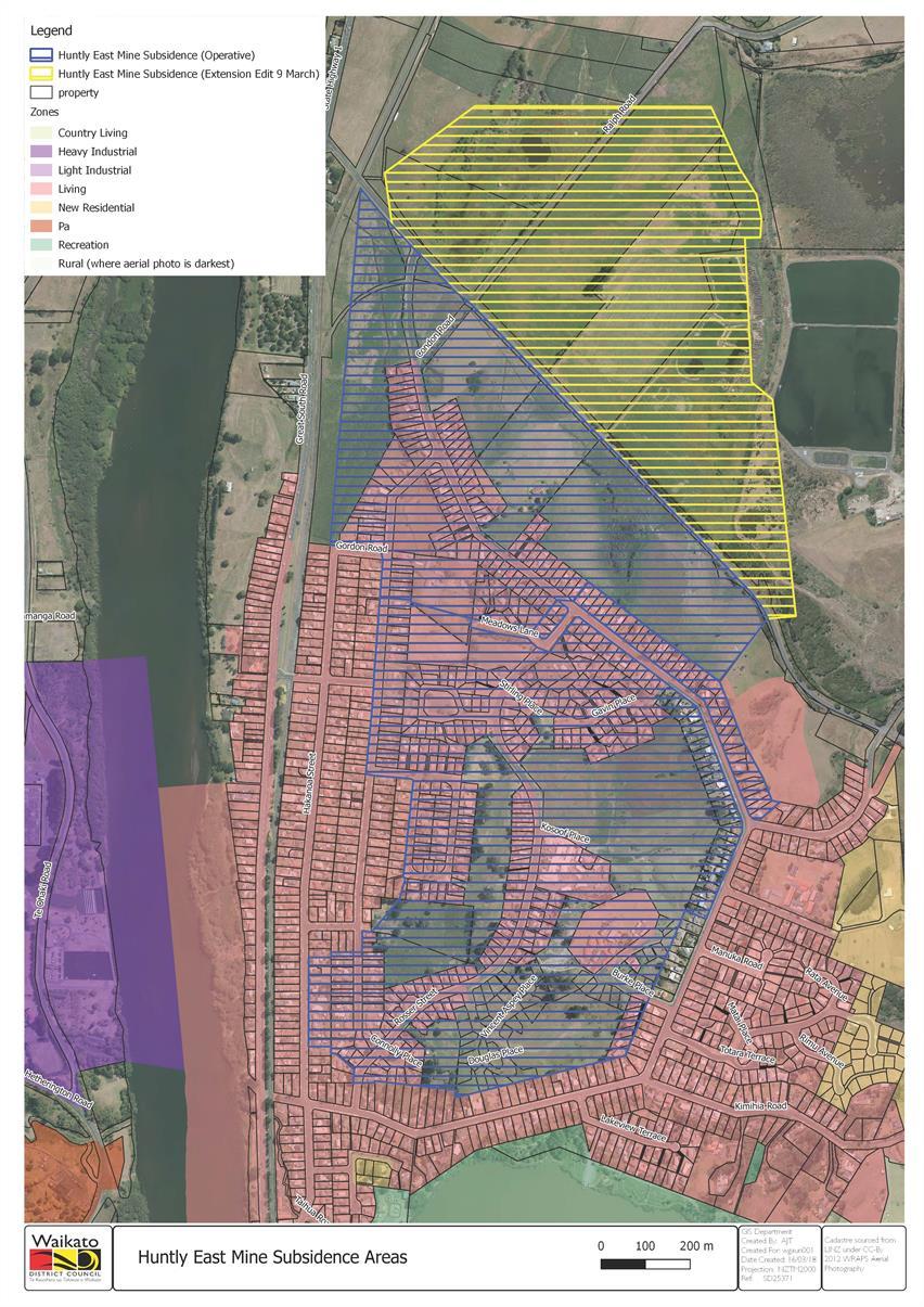 Huntly East Mine Subsidence Areas
