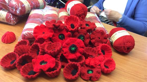 Knitted ANZAC poppies