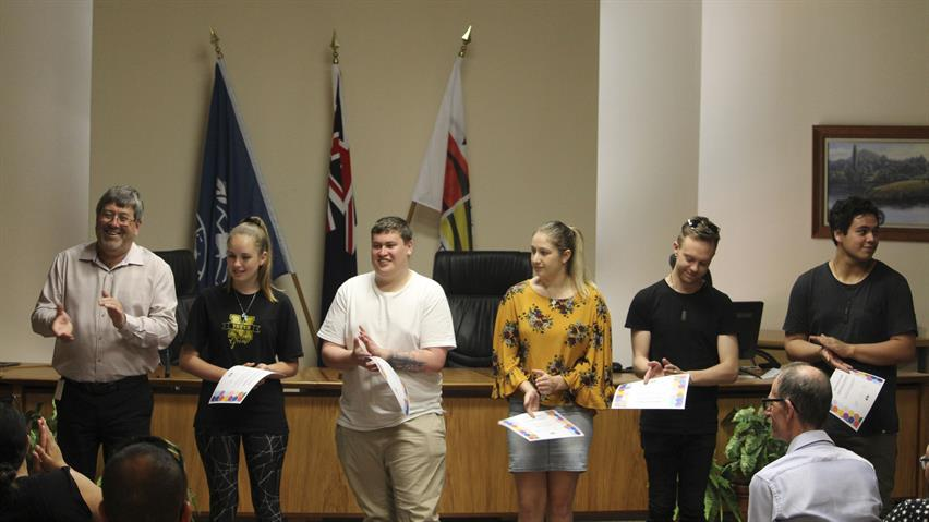 left to right Mayor Allan Sanson, youth reps Azabeth Dobby (Meremere), Cory Newport (Nga) Phoebe Comins (H), Logan Cotter (H), Wirihana Eriepa (Nga)