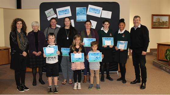 Matariki winners with judges and Mayor Sanson