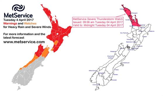 Metservice has issued a severe weather warning
