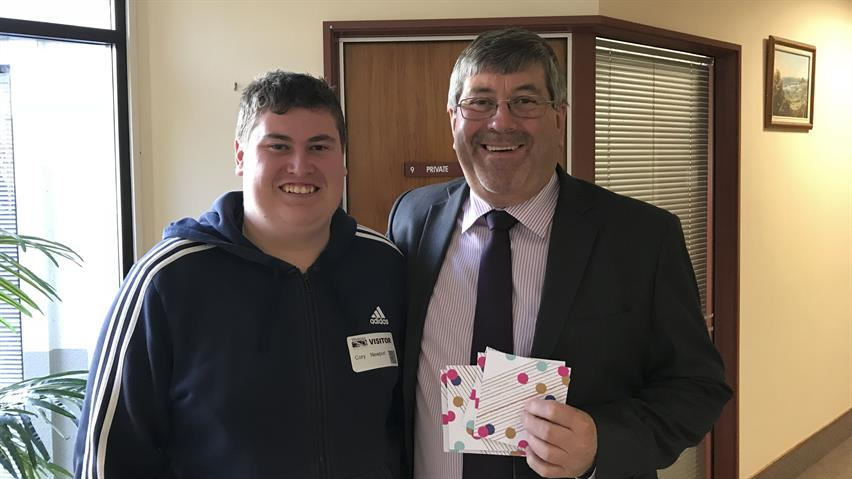 Ngaruawahia youth facilitator Cory Newport with Waikato District Mayor Allan Sanson July 2018