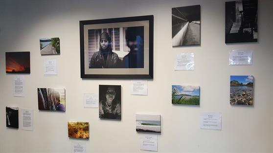 A selection of the Rangatahi exhibition's works on display currently at Raglan Library.