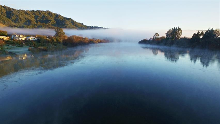 Waikato River looking north from The Point, Ngaruawahia