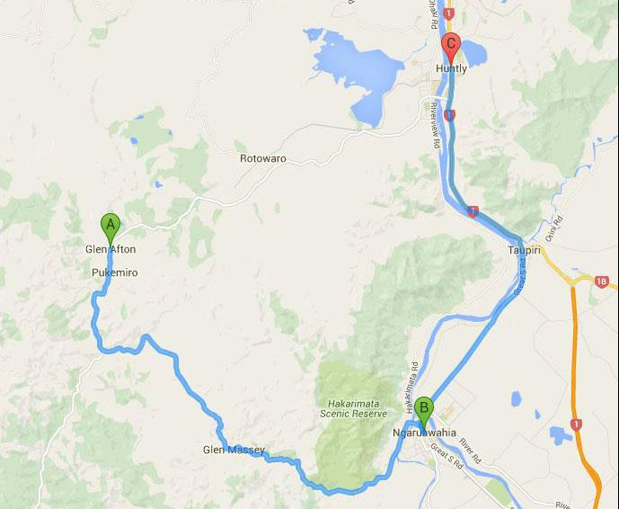 Rotowaro-Road-Closure-detour-map