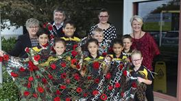 Taupiri School children with Waikato District Mayor and the Council's Placemaking team
