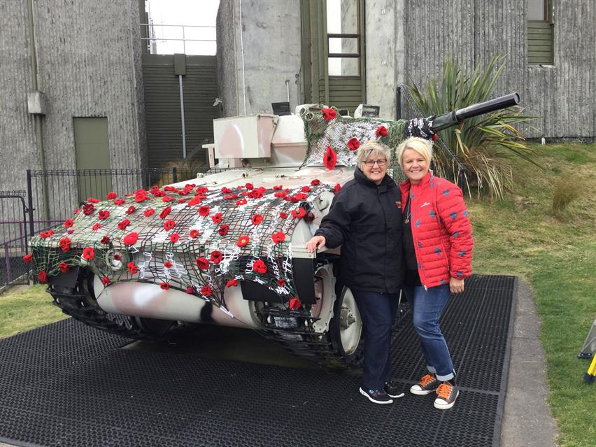 Yarn bombing the ScorpionTank at Waiouru