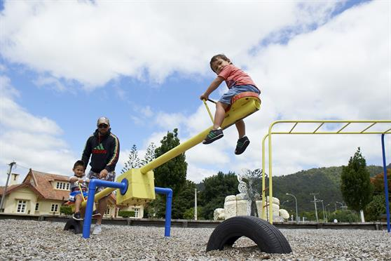 A family enjoying a playground in Ngaruawahia