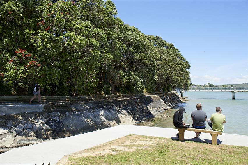Visitors to Raglan admiring the view