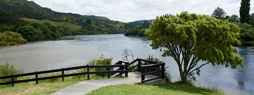 The Waikato River flowing through Ngaruawahia