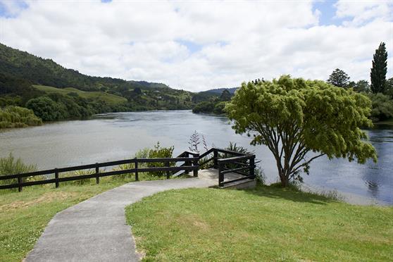 The Waikato River flowing through Ngaruawahia