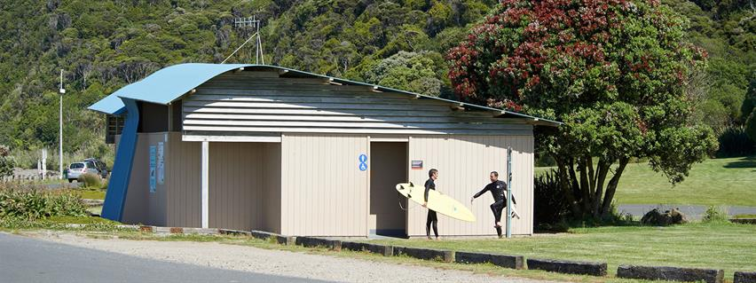 Waikato District Council managed public toilets in Manu Bay, Raglan