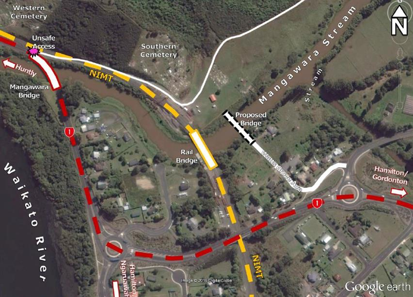 Mangawara map showing where the new bridge will be built.